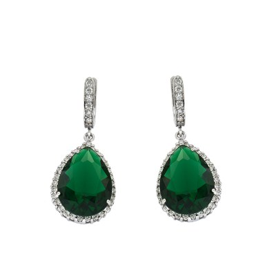 EARCOLC3 Ασημένια 925 σκουλαρίκια ροζέτες δάκρυ κρεμαστά με λευκά ζιργκόν  και κεντρική πέτρα πράσινη τύπου swarovski επιπλατινωμένα ead724cd144