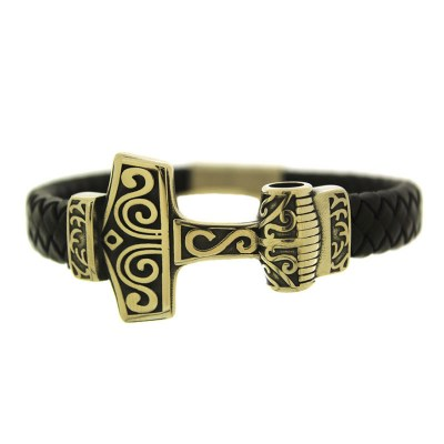 SSL6 Men s bracelet with leather in stainless steel 7320b2e2aad